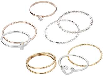 Lauren Conrad Heart & Sideways Cross Ring Set