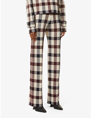 Victoria Victoria Beckham Check high-rise stretch-knitted trousers