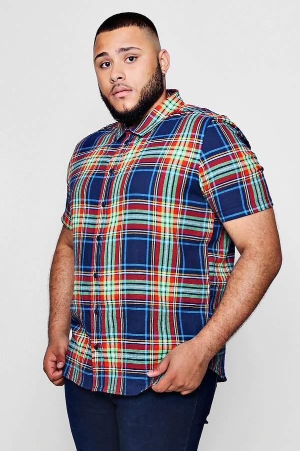 boohoo Big And Tall Multi Check Short Sleeve Shirt