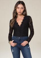 Bebe Lace Long Sleeve Bodysuit