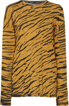 Proenza Schouler Animal Print Distressed Cotton T-Shirt