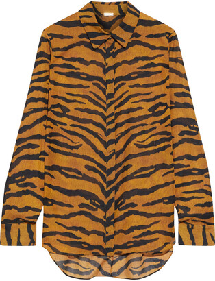 Adam Lippes Tiger-print Voile Shirt