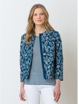 Somewhere Woman's slub cotton jacket with contrasting embroidery, HONDO