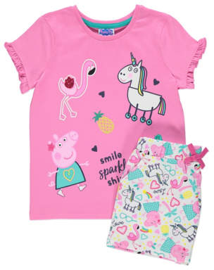 George Peppa Pig Pink Unicorn T-Shirt and Shorts Outfit