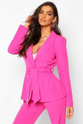 boohoo Single Breasted Belted Blazer