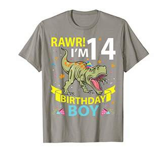 Big Smile Dinosaur Rawr I'm 14 Years Old Birthday Boy Happy T-Shirt