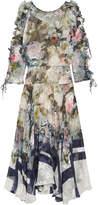 Preen by Thornton Bregazzi Jenna Floral-print Devoré Silk-blend Chiffon Midi Dress - Blue