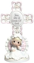 "Precious Moments Precious Moments, Baptism Gifts, ""You Are A Child Of God"", Bisque Porcelain Cross, Girl, #4004681"
