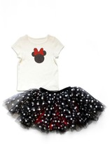 Girl's Disney By Tutu Couture Minnie Tee & Dotted Skirt