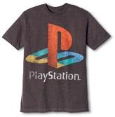 Bioworld Men's Playstation Logo T-Shirt Charcoal Grey