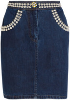 Miu Miu Studded Denim Mini Skirt - Dark denim