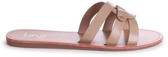 Linzi OPRAH - Taupe Nappa Flat Slip On Slider With Link Shaped Front Strap