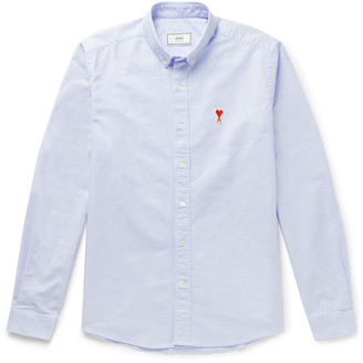 Ami Button-Down Collar Logo-Appliqued Cotton Oxford Shirt