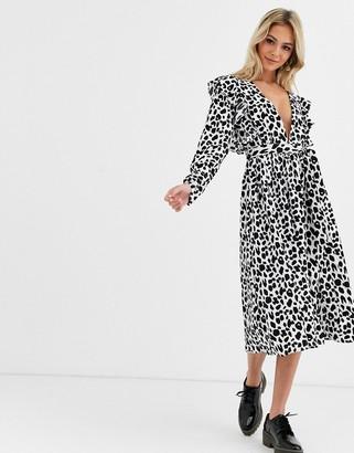 Glamorous plunge midi dress in monochrome leopard print-Multi
