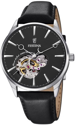 Festina Men's Automatic Watch with Black Dial Analogue Display and Black Leather Strap F6846/4