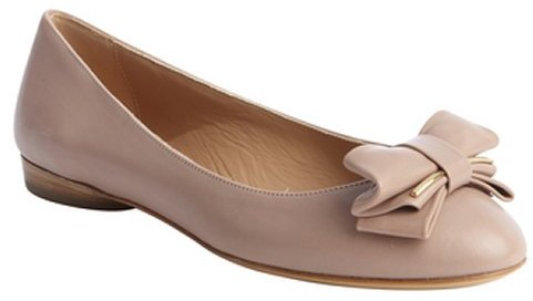 Salvatore Ferragamo rose leather 'Rubia' bow tie detal flats