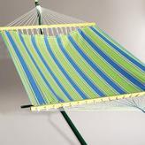 Cost Plus World Market 2 Person 11' Fabric Hammock, Green and Blue Stripe