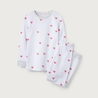 The White Company Heart Print Pyjamas (1-12yrs), White, 9-10yrs