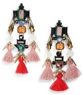 Sole Society Tassel & Crystal Chandelier Earrings