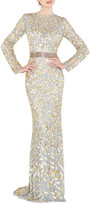 Mac Duggal Sequin High-Neck Long-Sleeve Illusion Gown w/ Open Back
