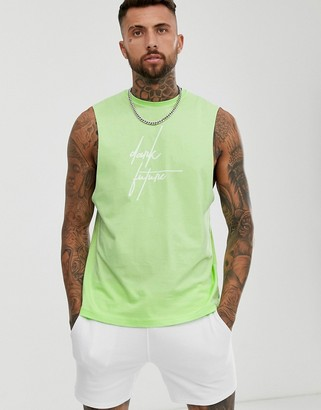 Asos Design DESIGN relaxed sleeveless t-shirt with dark future logo-Green
