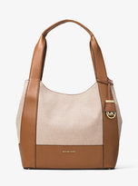 Michael Kors Marlon Large Canvas And Leather Shoulder Tote