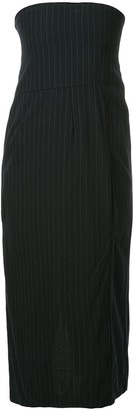Comme Des Garçons Pre Owned Pinstriped Tube Dress