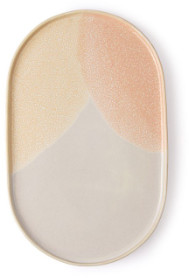 HKliving - Set of 2 Pink and Nude Oval Side Plate - ceramic | pink and nude