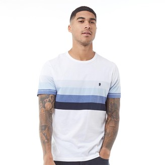 French Connection Mens Four Chest Stripe T-Shirt White/Sky Melange