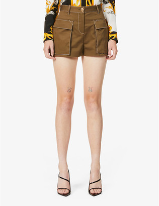 Versace Contrast-stitch mid-rise stretch-cotton shorts