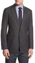 Giorgio Armani Check Wool-Cashmere Two-Button Sport Coat, Gray/Blue/Brown