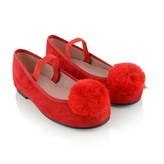 Pretty Ballerinas Pretty BallerinasRed Suede Hannah Shoes With Fur Pom Pom