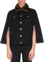 Givenchy Denim Cape w/Mink Fur Collar, Black