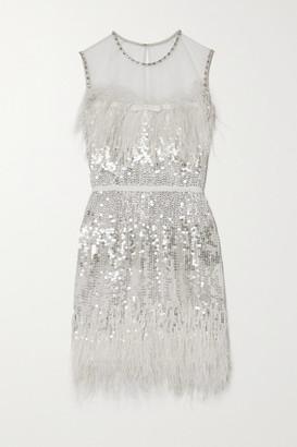 Jenny Packham Hula Feather-trimmed Embellished Tulle Mini Dress - Silver