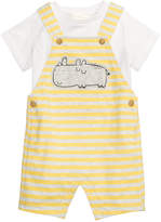 First Impressions 2-Pc. T-Shirt & Striped Rhino Overall Set, Baby Boys, Created for Macy's