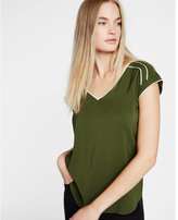 Express piped v neck short sleeve blouse