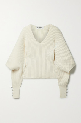 Lanvin Cutout Embellished Ribbed Wool And Cashmere-blend Sweater - Cream