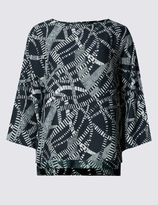 Marks and Spencer Ladder Print Kimono 3/4 Sleeve Shell Top