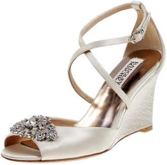 Badgley Mischka Abigail Embellished Satin Wedge Sandals