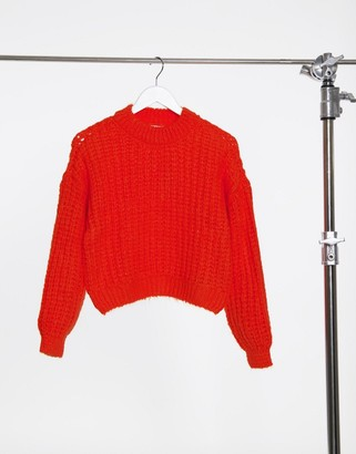 Only large knit sweater in red