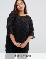 Asos Oversized Sheer T-Shirt with 3D Floral Embellishment