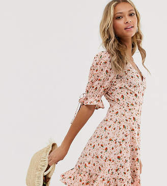 Wednesday's Girl wrap mini dress with tie sleeve in ditsy floral-Pink