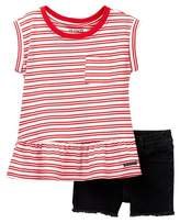 Hudson Stripe Jersey Top & Shorts (Toddler Girls)