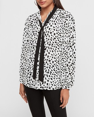 Express Spotted Tie Neck Balloon Sleeve Top