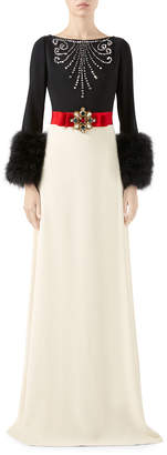 Gucci Crystal-Embroidered Two-Tone Feather Cuffed Gown