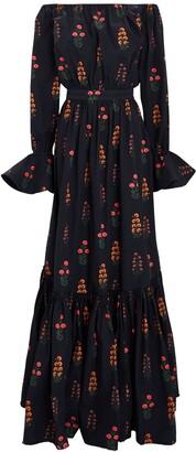Agua Bendita Almendra Off-The-Shoulder Maxi Dress