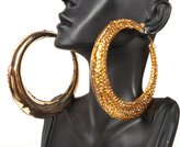 Basketball Wives Gold 3.5 Inch Iced Out Hoop Earrings Lady Gaga Poparazzi