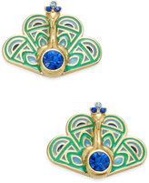 Kate Spade 14k Gold-Plated Crystal and Enamel Peacock Stud Earrings