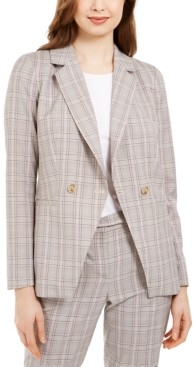 Calvin Klein X-Fit Plaid Double-Breasted Jacket