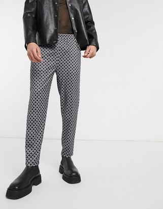 One Above Another tailored pants in geometric print-Orange